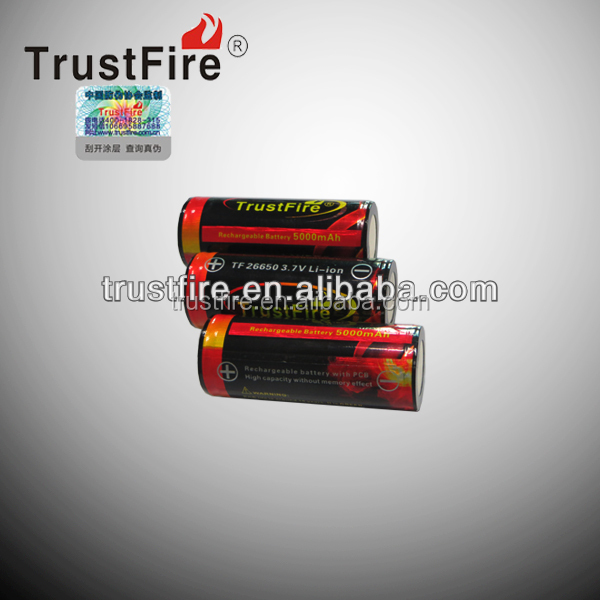 Big size 26650 5000mah li-ion 3.7V li-ion rechargeable battery from Trustfire