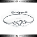 Lovely 925 sterling silver box chain heart bracelet extender with bead
