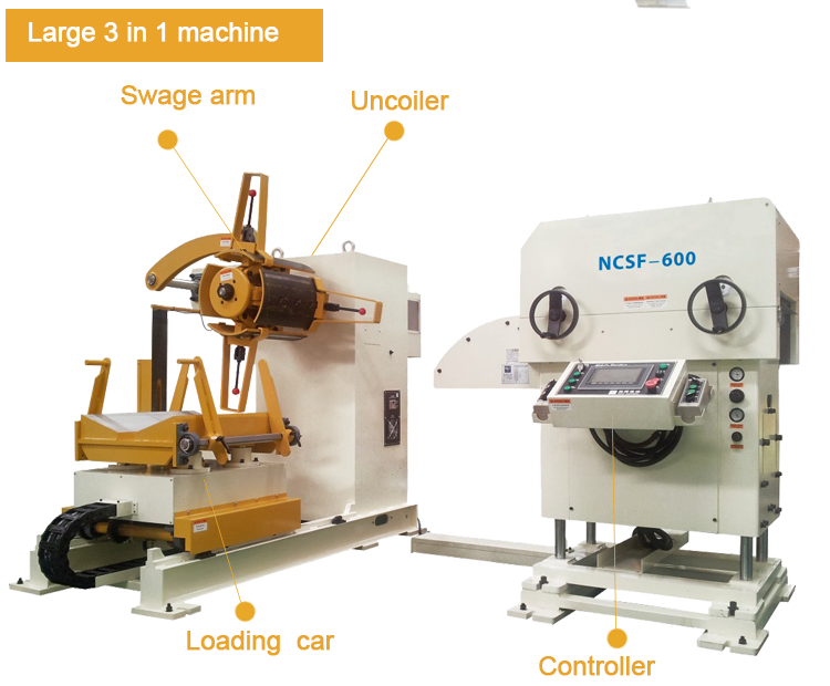 cnc 3 in 1 with decoiler leveler and feeding for punch press