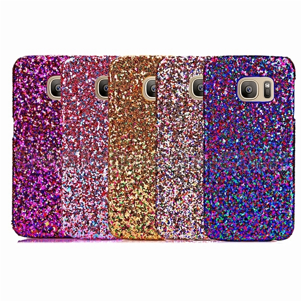 Multi Color Powder Leather Coated Hard Case for Samsung Galaxy S7 Case PC Glitter - Gold