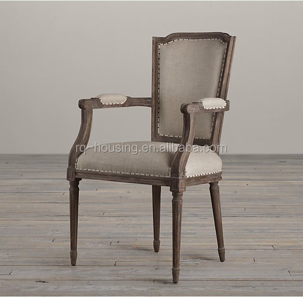 Home furniture antique reproduction armchairs french furniture of oak solid wood chair with waterproof fabric