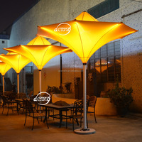 outdoor furniture tulip umbrella outdoor decorative sun umbrella waterproof patio decoration LED tulip umbrella