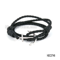 Women Men Leather Handmade Cuff Wristband Anchor Leather wire bangle bracelet