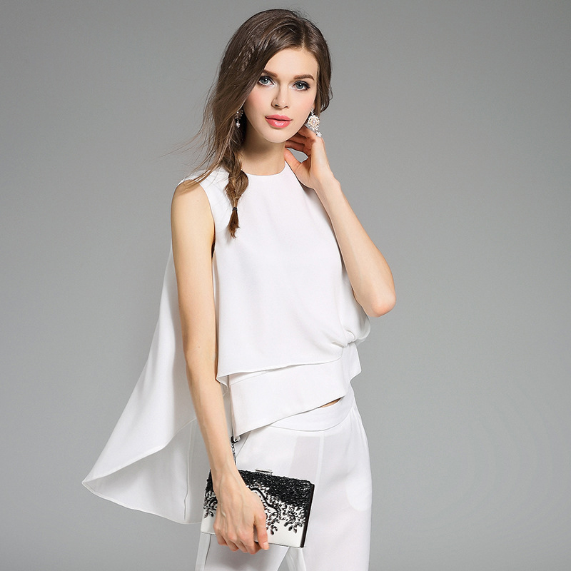 White Color Elegant Guangzhou Factory ladies ladies chiffon pants suits
