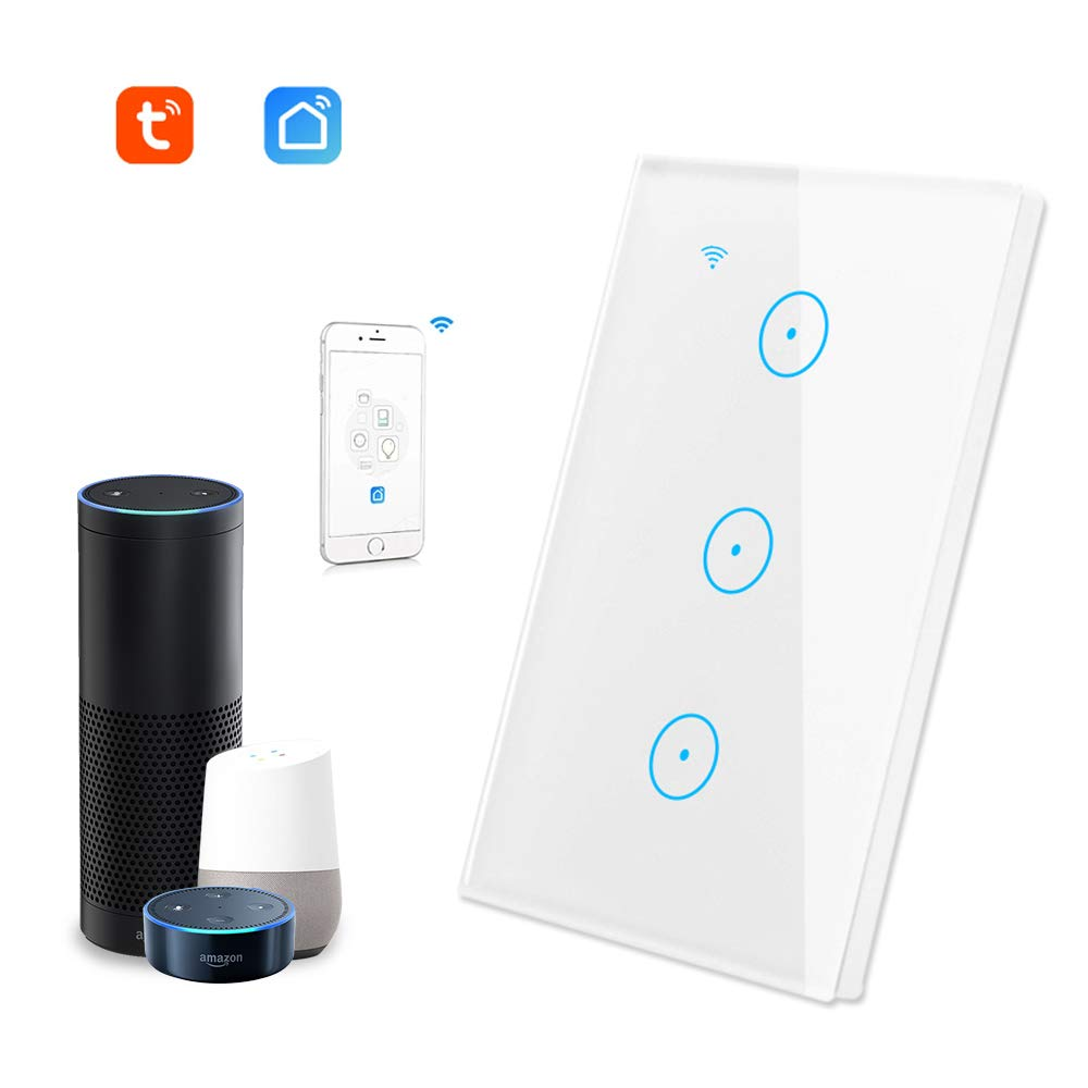 Tuya 3 Gang 3 Way Smart Wifi Light Switch Wifi Remote Control Switch/Wifi Smart Wall Switch