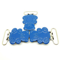Bear shaped metal suspender clips in blue color high quality painted pacifier holder clips wholesale suspender hardware