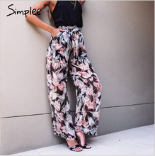 Simplee summer floral print loose waist sashes long women pants for casual streetwear