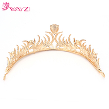 WAYZI brand new arrival cheap gold crystal bridal crown headpiece tiaras