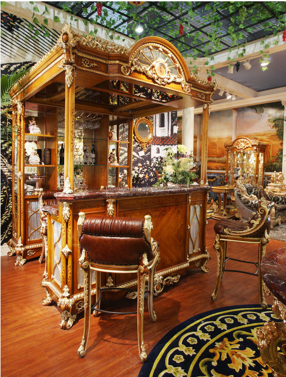 Luxury French Style Baroque Home Bar Furniture/European Classic Mini Bar/Wooden Hand Carved Bar Cabinet,Bar Table, Bar Stool