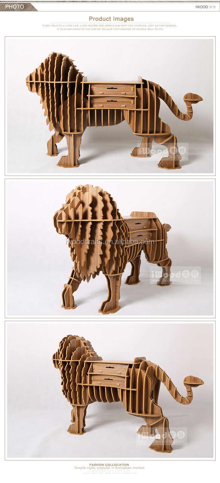MDF Lion decorative storage drawer