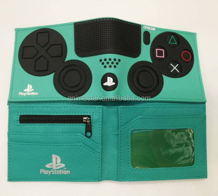 Wholesale Green Color PlayStation PVC Anime Wallet Coin Bag Cartoon Wallet