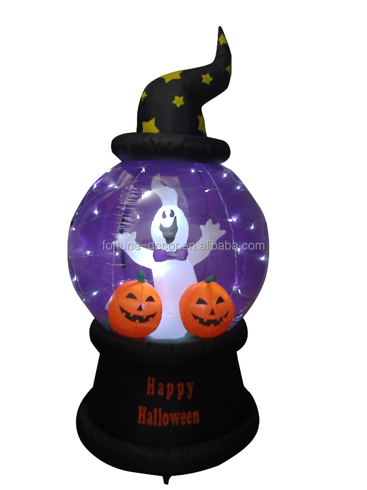 210cm/7ft inflatable white ghost and pumpkin on the flashing ball for Halloween decoration