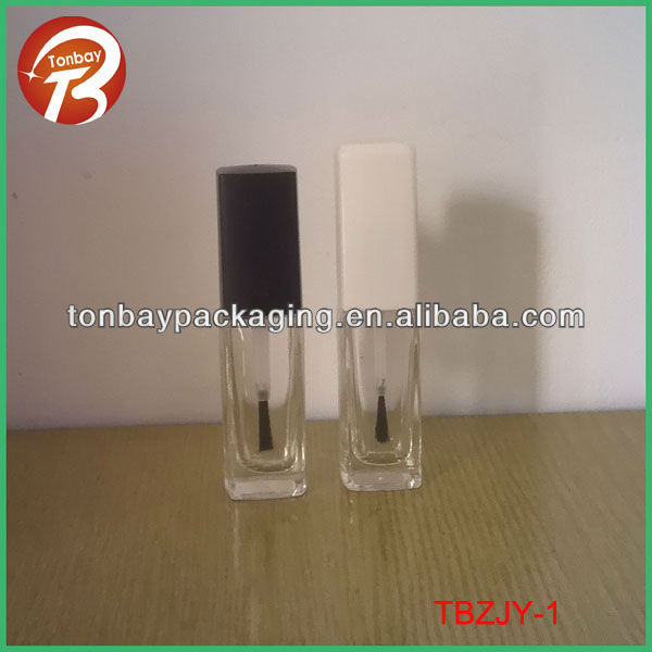 Hot sale 10ml rectangular nail polish bottle with flat brush and ABS Cap TBZJY-1