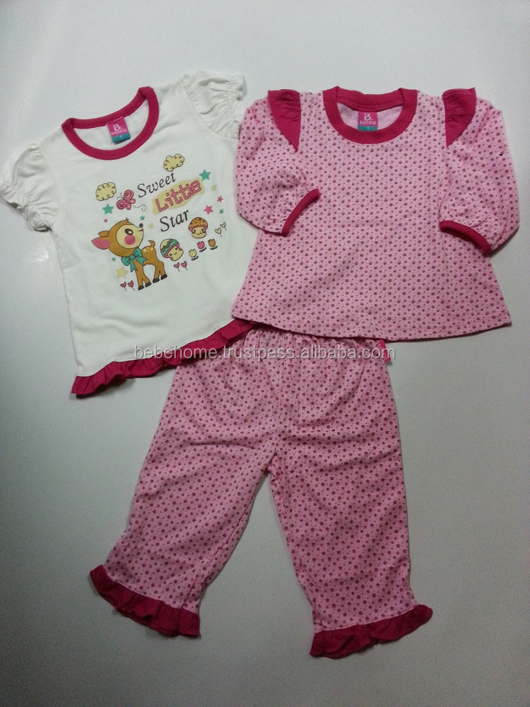 Little girl's pajamas, kid's pajamas pink , 3 in 1 kids clothes