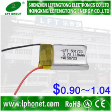 China Best price professional manufacture lipo mini helicopter battery 3.7v 110mah 501723