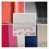 100% Cashmere Wool Shawl with fur ball