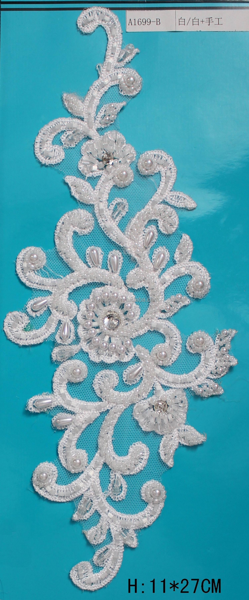 New embroidery wedding applique flowers beaded hand work design