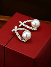 Fashion Water Drop shape Gold Crystal Stud Earrings Brincos Perle Pendientes Bou Pearl Earrings For Woman
