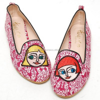 2scd0870 cartoon fabric slip-on flat heel shoes Made in korea