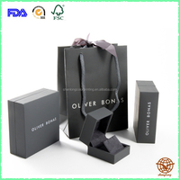 2016 New Matte Black Custom Made Logo Printed Jewelry box , Cardboard Jewelry Box with Carrier Bag