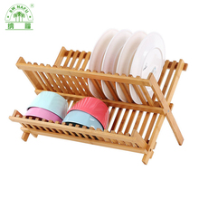 Eco-friendly 2 Tier bamboo dish drainer rack for kitchen
