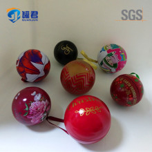 Ball shaped decorative Christmas metal gift tin box