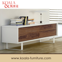 Tv Table,Pure White Frame and Walnut Doors Tv Stand/Tv Entertainment Unit/ T209#