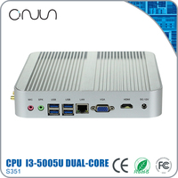 Free shipping Mini pc case NUC intel i3-5005 12v fanless gaming desktop computer
