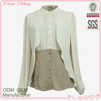 Elegant women / ladies newest long sleeve ruffled formal blouse and pants