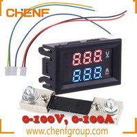China Manufacture DC 100V 100A Voltage Voltmeter Ammeter 2in1 Volt Amp Dual Display Panel Meter with Current Shunt
