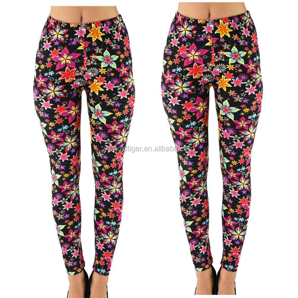 Hot wholesale Fashion Floral leggings Ladies Printed leggings