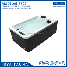 Acrylic outdoor 2 loungers hot tub aqua spa hydro massage pool with bubble hydrotherapy