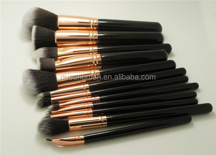 Wooden Hair Brush 12pcs Synthetic Cosmetic Make Up Brush Set
