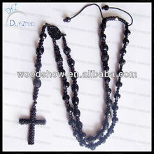 2013Fashion mens black shamballa rosary