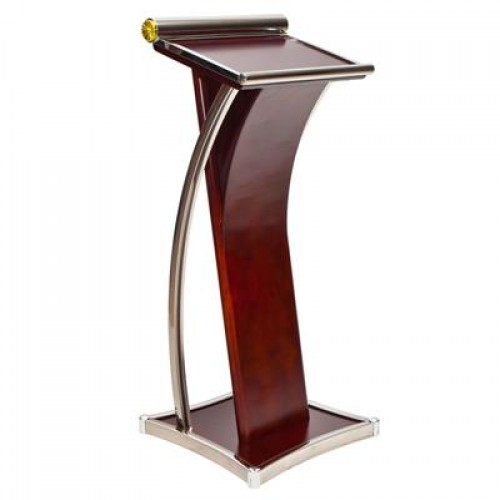 Yc-PF06 Best Selling Wholesale Premium Wooden Stainless Steel Speech Lectern Rostrum Pulpit Podium for Church and School