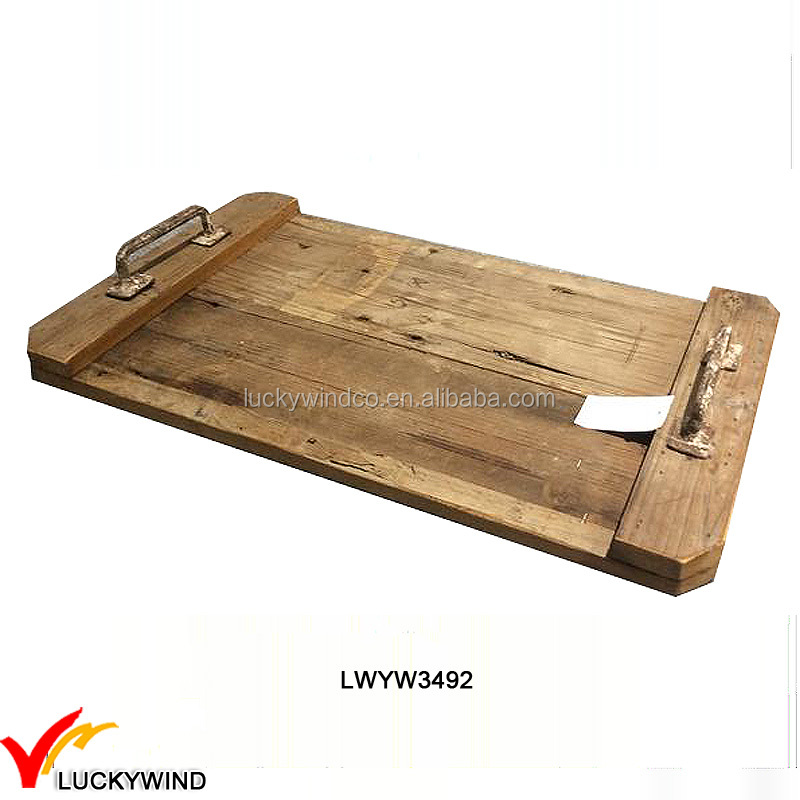 Flat Rustic Rectangle Natural Wood Tray with Metal Handles