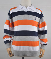 100% cotton boy's knitted stripe polo sweaters