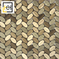 High Quality Brick Pattern Mixed Colors Natural Leaf Oval Design Marble Mosaic Tile Egyptian Yellow Herringbone Mosaic