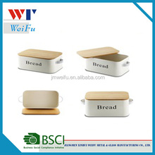 Hot selling household bamboo cover metal bread storage box