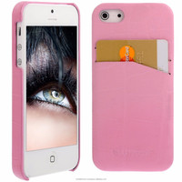 Geniune Leather Backcover case for iPhone 5S / 5 Croco Pink Cow Leather