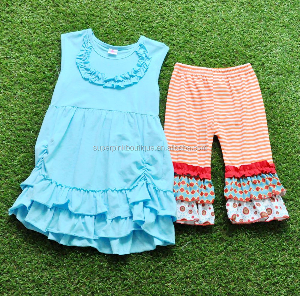 Wholesale Young Girl Summ Outfits Children's Cotton Clothing Baby Clothes 2017