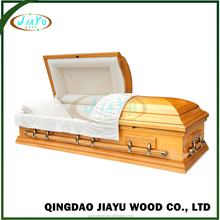 Original US style wholesale wooden casket with bed and cloth wood coffin
