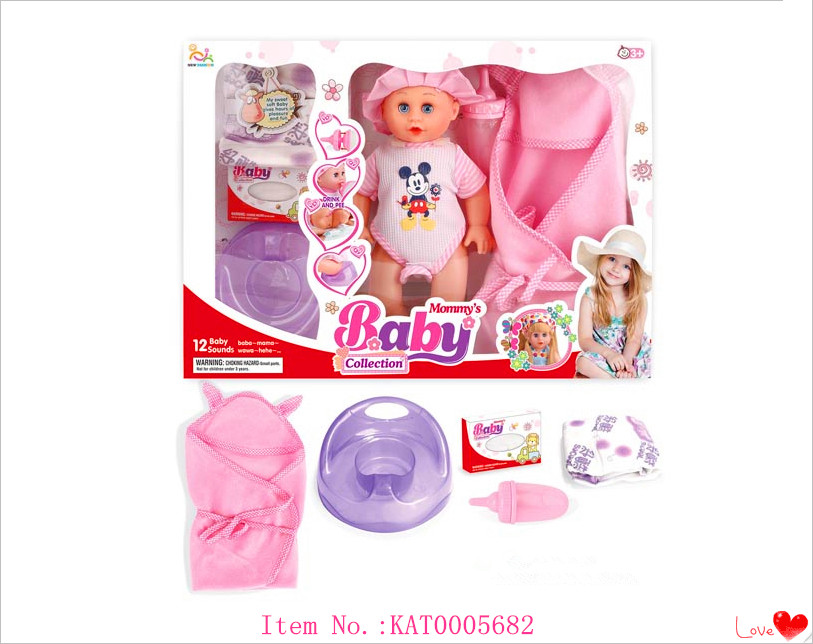 China Factory Made Vinyl Real Baby Doll 12 Inch Mini Baby Pee Doll With Bottle And Diapers