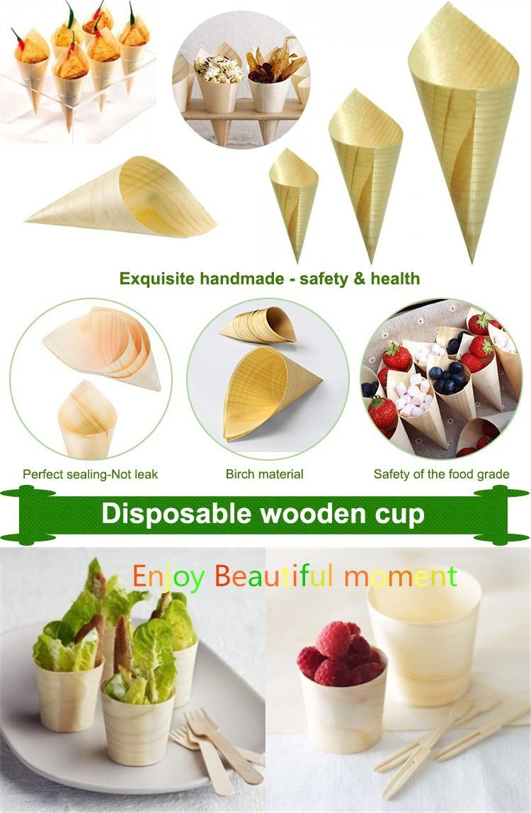 natural disposable bamboo cones catering