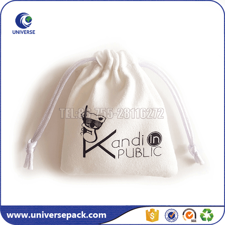 Custom Suede Drawstring Pouch Bag For Jewelry With Logo Printing