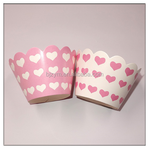 "pink style heart pattern printed kitchen tools supplies chocolate paper wrappers 2"" Cupcake Wrapper wedding event party supplies"