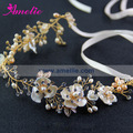 Delicate Fresh Water Ivory Pearl & Shell Flower Hair Vine Wedding Belt and Headband