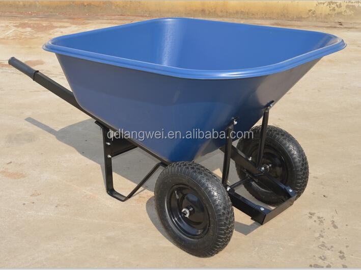 strong durable double wheel plastic tray wheel barrow