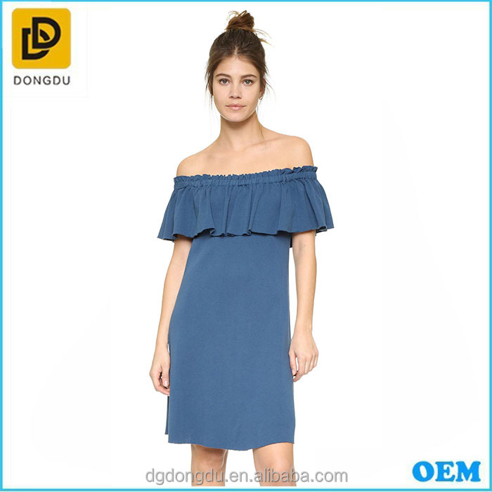 Relaxed fit wrap front convertible collar bardot neck off shoulder denim daily casual short frock shift dress for girl