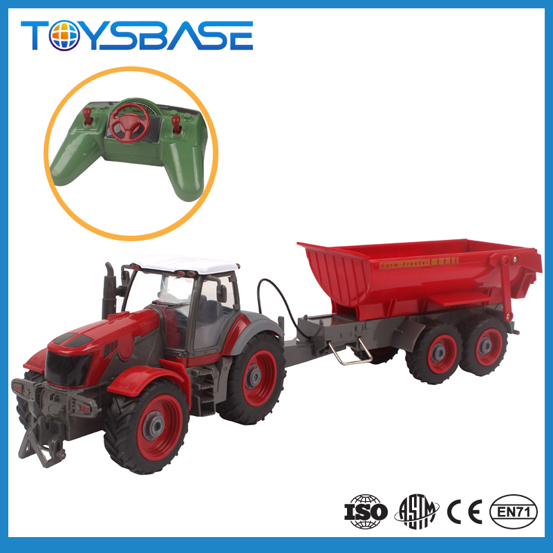 Alibaba China Wholesale Sale Plastic Farm Trailer Wheels Trucks Set Battery Radio Remote Control Toy Tractor for Children